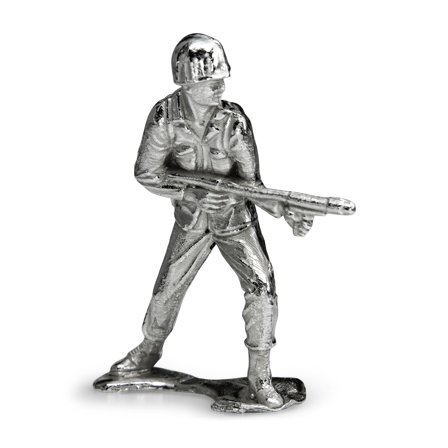 Silver Army Figurine - Flamethrower Silver Soldier